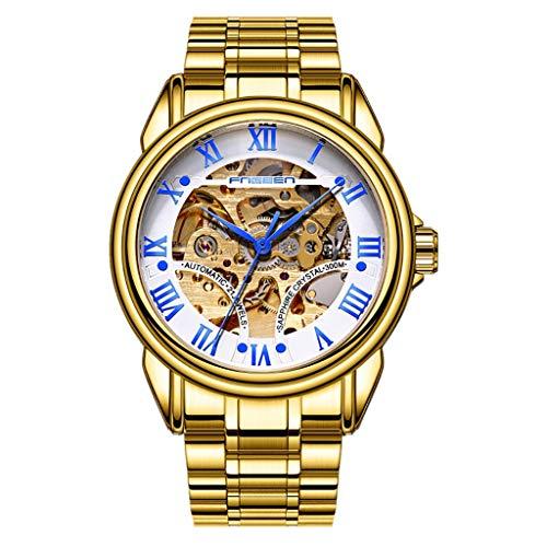 Automatische mechanische Uhren | Luotuo Mode Hohl Herren Armbanduhr | Automatische Selbstwind Analog Uhr Ø39mm Zifferblatt Rostfreier Stahl Uhrenarmbänder | Geschäft Freizeit Watch Wasserdichter