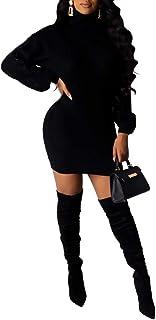 QitunC Women's Turtle Neck Knitted Jumper Long Sleeve Sweater Dress Tunic Slim Fit Knitwear