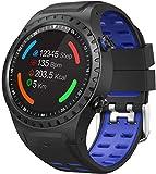 Reloj inteligente de 1 tarjeta de 3 pulgadas, reloj inteligente deportivo GPS, posicionamiento al aire libre, brújula de altitud, reloj deportivo impermeable para Android y iOS, azul y negro