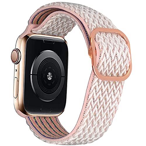 EWENYS Correa elástica de nylon ultraligera con patrón estampada, Cierre con estilo, compatible con Apple Watch Series 6 5 4 3 2 1 SE, 38mm/40mm, Rosa