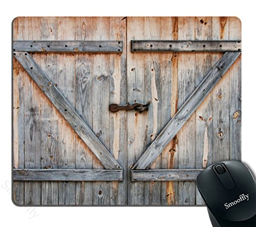 Smooffly Rustic Country Barn Wood Door Mouse Pad for Office, Non-Slip Rubber Mouse pad Gaming Mouse Pad 240MM X 200MM X 3MM