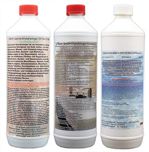 Probe Grundreiniger für Gewerbe,(8094), 1L Forte Sanitärgrundreiniger extra stark, 1L 3Phasen Sanitärreiniger,1L Alkalischer Grundreiniger