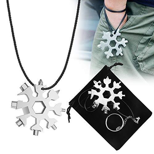 Schneeflocke Multi-Tool,Sporgo 18-in-1 Schneeflocken MultiTool Edelstahl Schneeflocken Multifunktionswerkzeug,Geschenke für Männer,Tragbares Edelstahl-Multifunktionswerkzeug für Outdoor-Abent (Silber)