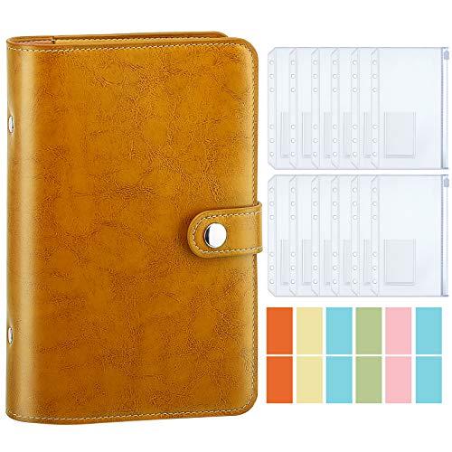 Housolution Carpeta de Cuaderno de 6 Anillas, Cubierta de Hojas Sueltas de Cuero de PU con 12 Sobres de Plástico Transparente con Cremallera A6, Bolsillo para Etiquetas de Cartón - Amarillo Vi