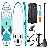 Glymnis Tabla Paddle Surf Hinchable Stand Up Paddling Board Set 320x80x15 cm con Surf de Remo de Aluminio Ajustable Bomba de Aire Mochila de Transporte y Kit de Reparación