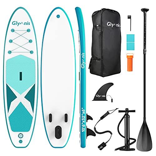 Glymnis Stand Up Paddle Gonflable 320x81x15cm Kayak Sup Board Gonflable Sup Planche en PVC avec Pagaie Pompe Sac à Dos et des Accessoires