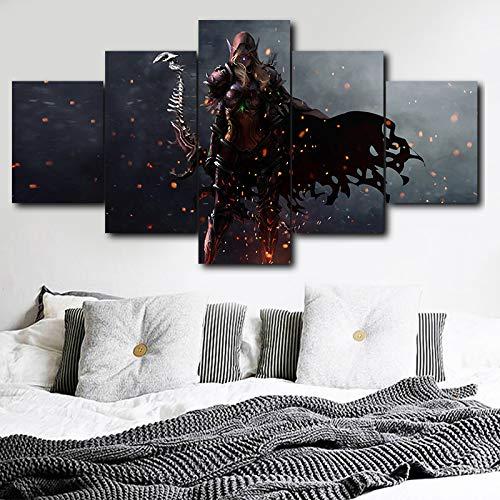 Spiel 5 Stück Hd Print Schöne Dame Sylvanas Windrunner Poster Malerei Leinwand Wand Künstler Haus Dekoration Wanddekoration(With Frame size)
