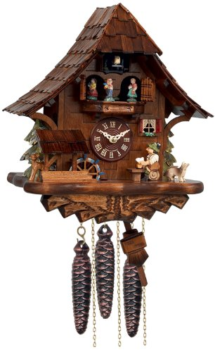 River City Clocks One Day Musical Beer Drinker Cuckoo Clock with Moving Waterwheel and Dancers