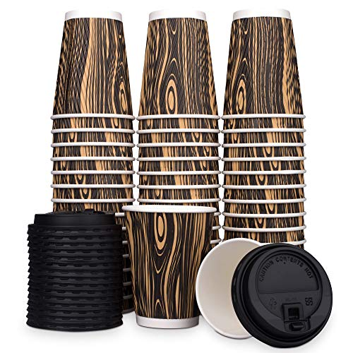 Nobleroyalcity-(NRC) Wood Design Disposable Coffee Cups with Lids - Leakproof Togo Coffee Cup Set with Secure Lids - Safety Ripple Wall for Hot and Cold Drinks - Sturdy Paper Beverage Cups - 12 oz