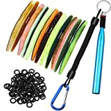 Wacky Rig Tool with 100 Pieces Worm O-Rings and 12 Pieces Soft Stick Baits Artificial Fishing Lures, Wacky Worm Kit for Baits Fishing Supplies