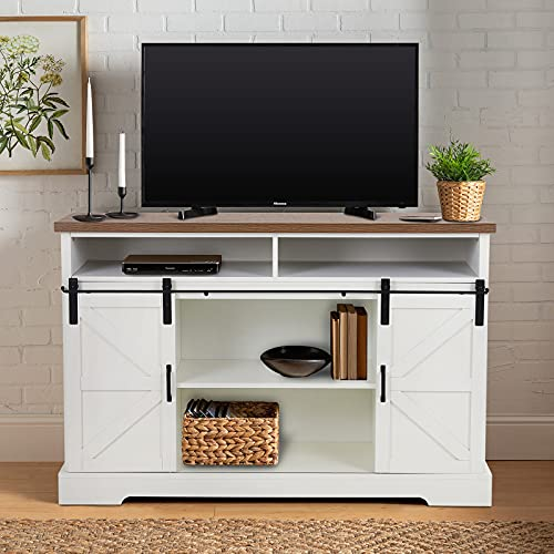 MAISON ARTS 52' Modern Farmhouse TV Stand with Sliding Barn Doors Sideboard Buffet Storage Cabinet Console Table Entertainment Center for TVs Up to 60' for Living Room Bedroom Home Kitchen,Oak + Ivory