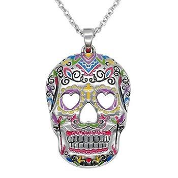 Controse Sugar Skull Necklace Heart Eyes Skull Pendant