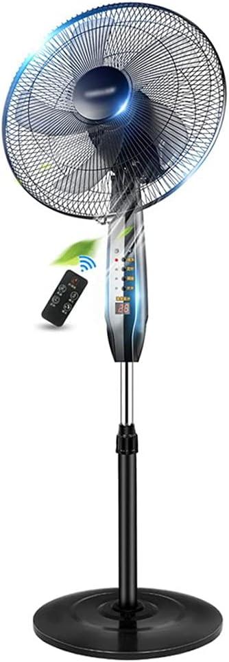 Ventilador de Pedestal de Pie de 16 ″ 3 Velocidades Ajustables Ventilador Eléctrico Casero Suministro de Aire de Gran Angular de 140 ° Oscilante Ultra Silencioso Temporizador con Remote 5 Blade Negro