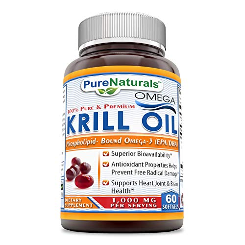 Pure Naturals Krill Oil 1000 mg Per Serving Softgels (Non-GMO, Gluten-Free) - Superior Bio-Availability* Antioxidant Properties Helps Prevent Free Radical Damage* (60 Count)