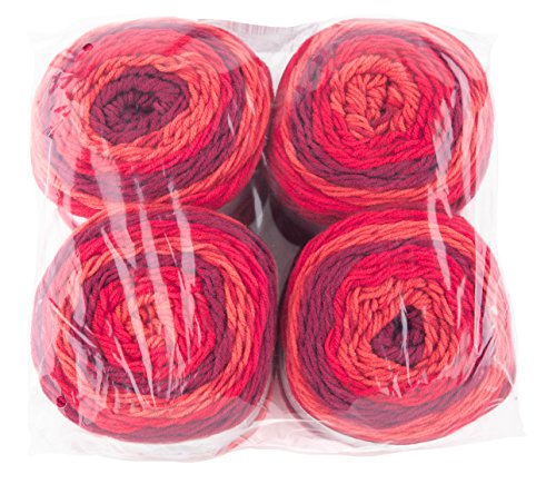 Gründl Lolly Pop, Vorteilspack 4 Knäuel à 150 g Handstrickgarn, 100% Polyacryl, Wild Cherry Swirl, 24 x 24 x 10 cm