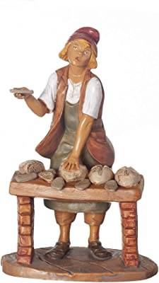 """Fontanini, Nativity Figure, Darius The Baker, 7.5"""" Scale, Collection, Handmade in Italy, Designed and Manufactured in Tuscany, Polymer, Hand Painted, Italian, Detailed"""