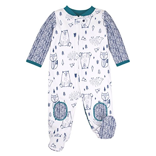 Lamaze Organic Baby Baby Boys Sleep N Play, Footed Sleepwear, 1 Pack, White Bears and Foxes, 3 Months