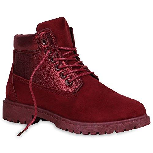 Damen Worker Boots Glitzer Profilsohle Outdoor Stiefeletten Schuhe 147929 Dunkelrot Glitzer 38 Flandell
