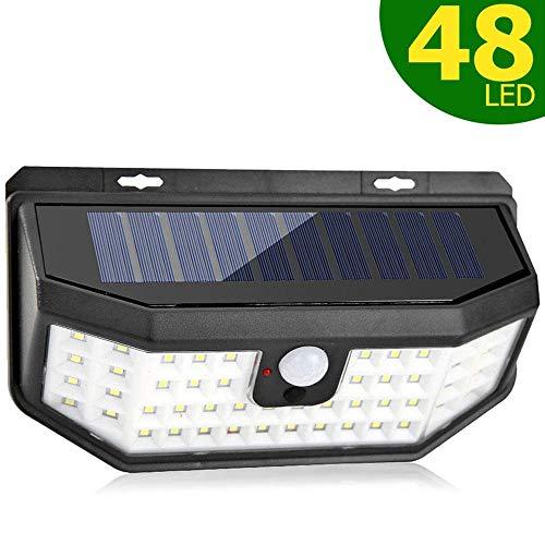 Solarleuchten Außen 48 LED mit Lichtreflektor, Solar Bewegungssensor Sicherheitsleuchten, IP65 wasserdichte solarbetriebene drahtlose Wandleuchten für Garten Terrasse Hof Deck Garage Zaun Pool (1 Pac