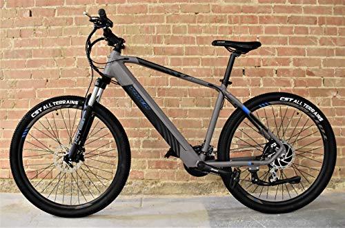 "Totem MX1 Electric Mountain Bike, 350W Brushless Motor, 20 MPH Top-Speed, 27.5"" Tires, 24-Speed Shimano Gear-Set, IP65 Rated LCD Display, SunTour XCT Suspension, Tektro Dual Disc Brakes"