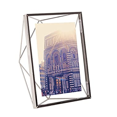 Umbra Prisma 5 x 7 Picture Frame – Floating Wall or Desk Photo Display for Pictures, Art, Illustrations, Graphic Text & More, Metal, Chrome