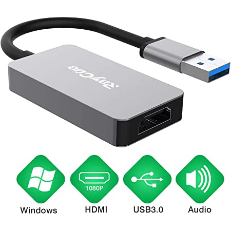 USB to HDMI Adapter, HD Audio Video Cable Converter, USB 3.0 to HDMI for Multiple Monitors 1080P, Compatible with Windows XP/10/8.1/8/7 (Not Support Mac, Linux, Vista, Chrome (Gray)