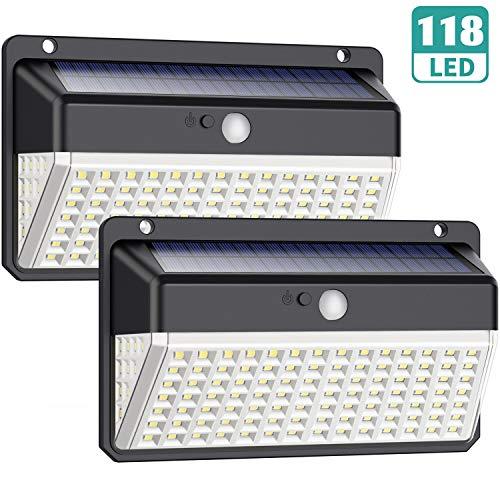 Luz Solar Exterior 118 LED, Trswyop【Versión Impermeable 2 Unidades】Foco...