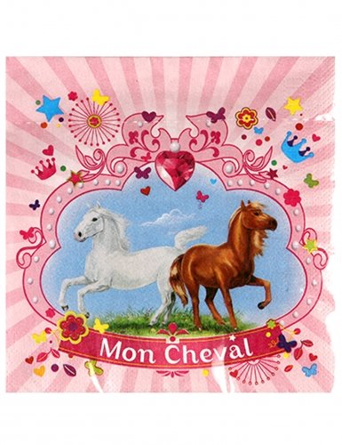DYNASTRIB-MON Cheval Serviettes, 9003558, Multicolore, 33 X 33 CM