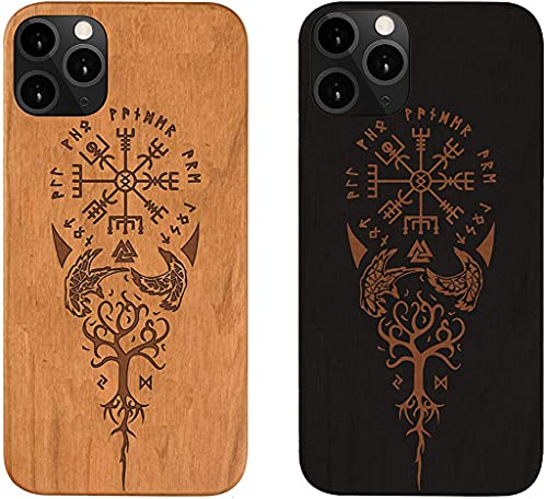 iPhone 11 Wood Phone Case, Viking Compass Vegvisir Protective Case, iPhone 11 Pro Max, iPhone Xs Max, iPhone Xr,iPhone X, iPhone 6,7,8 Plus, iPhone SE2020 (Black, iPhone 12 Pro Max)