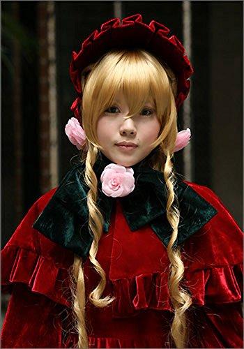 JapanAttitude Perruque Blonde Longues Boucles 66cm, Cosplay Shin ku Pure Ruby
