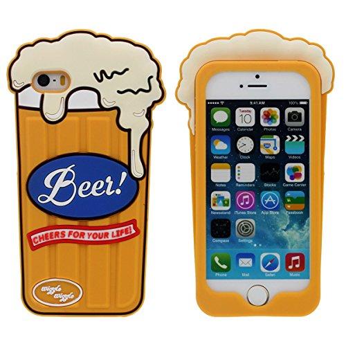 Desconocido iPhone 5 5S 5C SE Funda Carcasa Silicona Original Interesante 3D Una Taza de Cerveza Apariencia Diseño Suave Case AntiGolpes- Amarillo