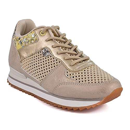 Zapatilla Sneaker Yumas Diana Beige Fabricado en Piel sintética y Nylon Plantilla Textil para Mujer
