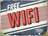無料WiFi壁金属ポスターレトロプラーク警告ブリキサインヴィンテージ鉄絵画装飾オフィスの寝室のリビングルームクラブのための面白いハンギングクラフト