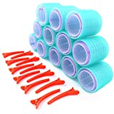 Self Grip Hair Rollers, 2 Sizes, Extra Large and Jumbo Hair Curlers | Hair Rollers with Clips | Rollers for Hair - Hair Rollers for Long Hair | 36pc Set Includes 24 Rollers, 12 Duckbill Hair Clips