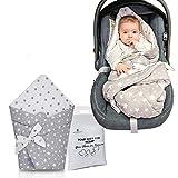 Winterfußsack für Neugeborene, hergestellt in der EU, Universal-Kinderwagen, Schlafsack für Kinder, Wickeldecke, Babyschale, tragbare Wickelunterlage, Geburt oder Kinder, grau