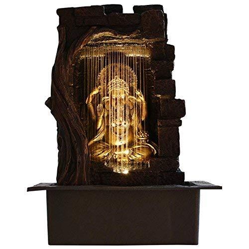 Vinayak Creations Ganesha Polystone Indoor Outdoor Water Fountain with Led Lights
