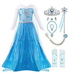Blue Long Sleeve Dress Halloween Costume With Accessories