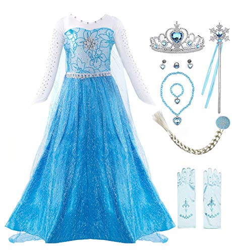 Padete Little Girl Princess Dress Snow Party Queen Halloween Costume Blue with Accessories (5 Years, Blue LS with Accessories)
