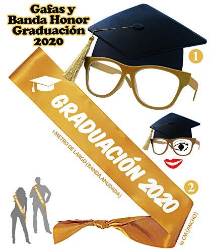 Inedit Festa Graduación 2020 Banda de Graduación Banda Honorífica Feliz Graduación y Gafas Birrete Graduación
