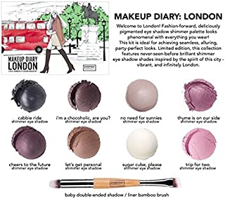 Everyday Minerals | Makeup Diary London Kit | Limited Edition | 9 Piece Shimmer Mineral Eye Shadow Kit | Bamboo Brush Included| 100% Vegan | Cruelty Free | Natural Mineral Makeup |