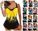Muyise High Waisted Swimsuits for Women, Women Two Piece Tie Dye Tankini Swimwear Tummy Control with Boyshorts Bathing Suit