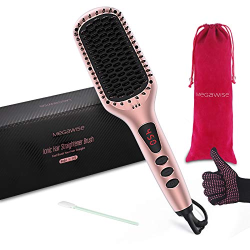 MegaWise Enhanced Ionic Hair Straightener Brush with Universal Dual Voltage, Anti-Scald Straightening Comb with Fast Metal Ceramic Heater, Auto-Off Safe& Rotatable Power Cord for Home Salon