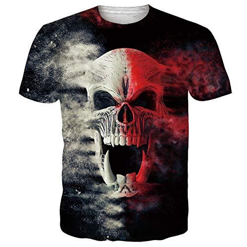 SunFocus Camiseta Hombre Verano Divertido Estampado Gráfico 3D Calavera Camisetas Manga Corta Cómodo Negras Tops M