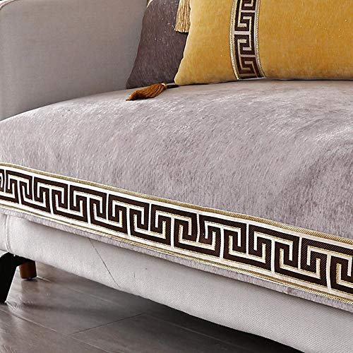 Miwaimao Chinese Fabric Sofa Cushion Thickening Shroud Of Classical Chinese Style Three-Digit Combination Cushion Slip Towel,Milk Coffee Color,90x90cm