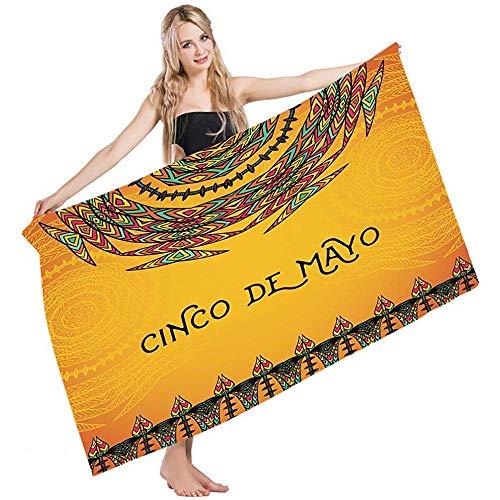 Pool Towel Mexikanische 5. Mai Feier Historische National Aztec Victory Holiday Cinco De Mayo Strandtuch Golf Yoga Schwimmen Saugfähigkeit Haar Handtuch Badetücher Badetuch 80X130Cm