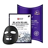 SNP - Black Pearl Renew Ampoule Korean Face Sheet Mask - Restoring & Rejuvenating Effects for All Oily Skin Types - 11 Sheets - Best Gift Idea for Mom, Girlfriend, Wife, Her, Women