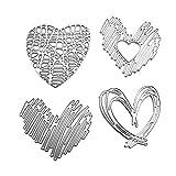 WentingZWT - Set di 4 fustelle in metallo a forma di cuore, per lavori fai da te, scrapbooking, timbri in rilievo, biglietti, decorazioni artigianali