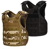 Mini Tactical Beer Vests, Molle Beer Cooler Jacket Adjustable Drink Bottle Vests Holder Beverage Cooler Holder for 12oz or 16oz Cans or Bottles (2 Pack, Black + Desert Camo)