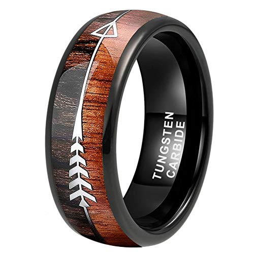 iTungsten 8mm Black Tungsten Rings for Men Women Wedding Bands Koa Wood Arrow Inlay Domed Polished Shiny Comfort Fit