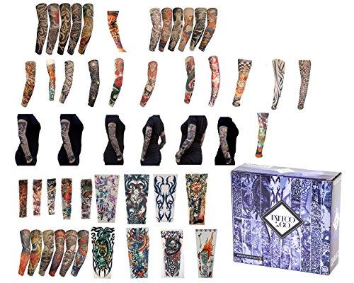 Terraberk Tattoo2Go - 50 piezas de mangas tatuadas/Calcetines - Diseños temporales para disfraces divertidos.